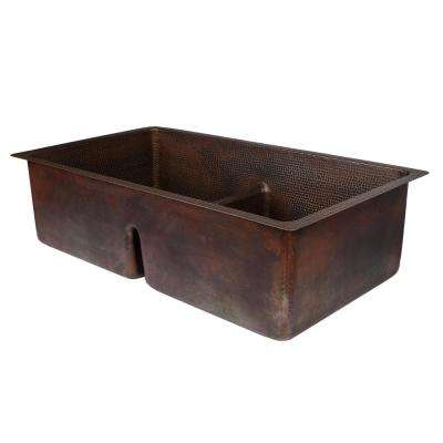 Dual Mount Hammered Copper 33 in. Double Bowl 50/50 Kitchen Sink with Short Divide in Oil Rubbed Bronze