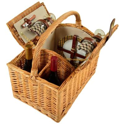 Vineyard Willow Picnic Basket with service for 2 in London Plaid