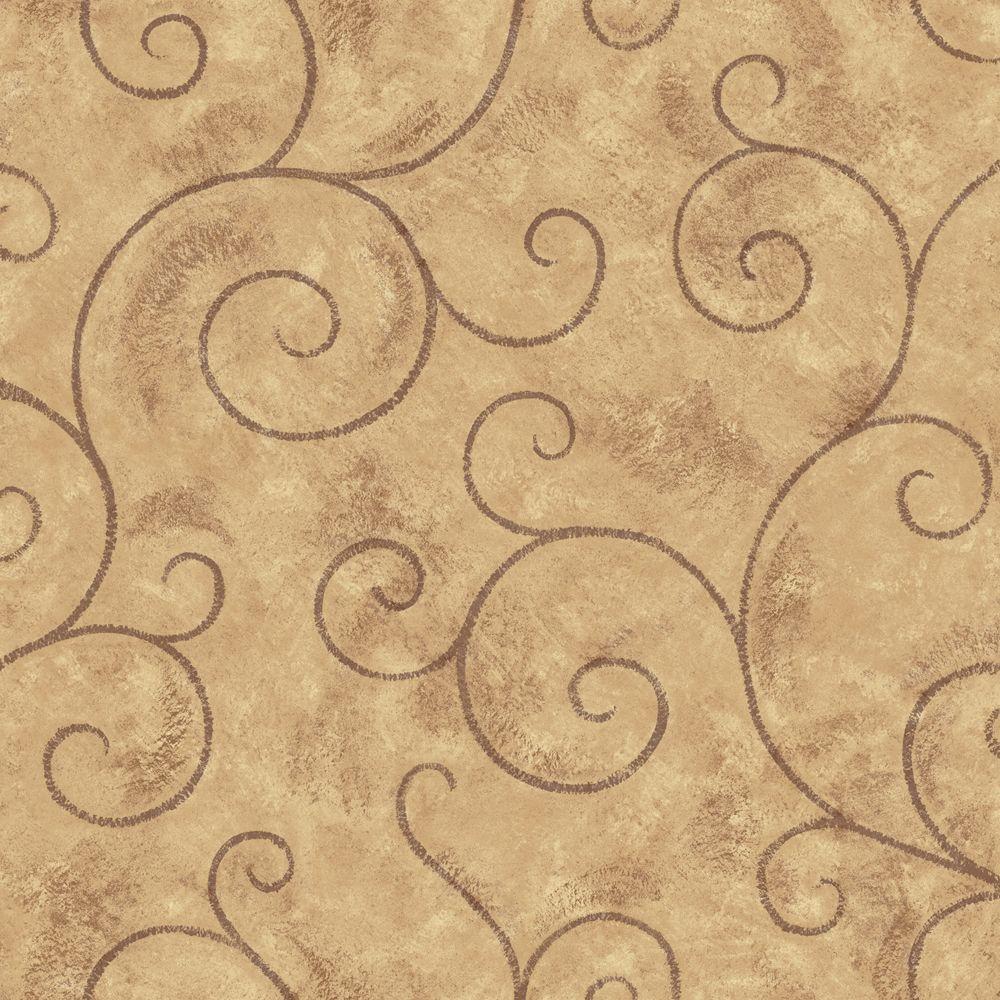 The Wallpaper Company 56 sq. ft. Brown Scroll Wallpaper