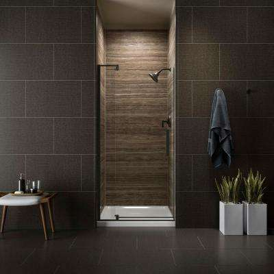 Revel 36 in. W x 70 in. H Frameless Pivot Shower Door in Anodized Dark Bronze with Handle