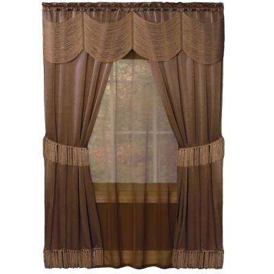 Sheer Halley 56 in. W x 84 in. L Taupe Window Curtain Set