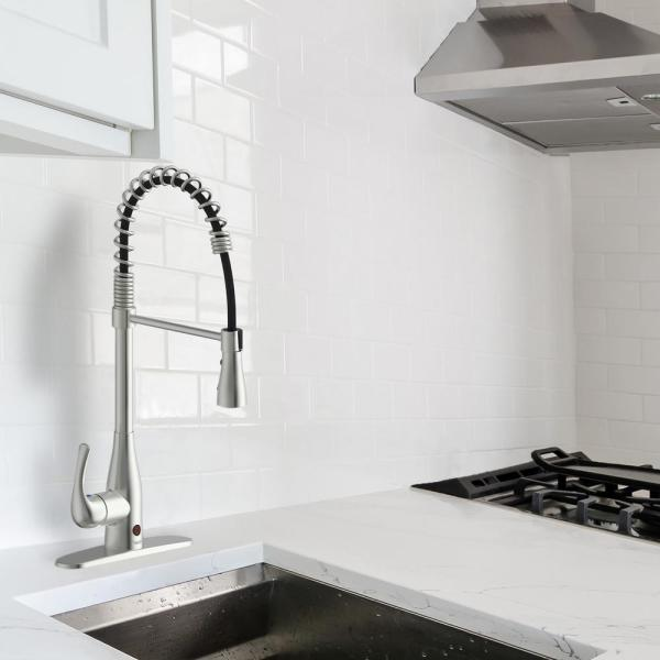 Flow Motion Activated Single Handle Pull Down Spring Neck Sprayer Kitchen Faucet In Brushed Nickel Springneck Bn The Home Depot