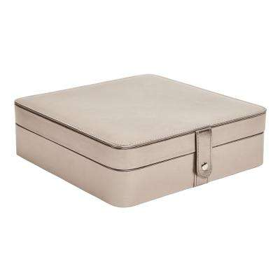 Deena Pewter Metallic Faux Leather Jewelry Box