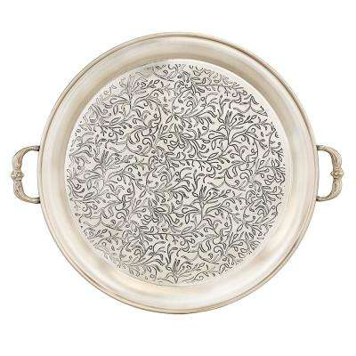 18 in. Dia Marrakesh Antique Pewter Etched Tray