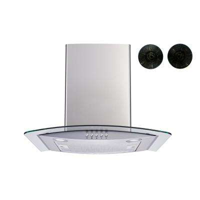 36 in. Convertible Wall Mount Range Hood in Stainless Steel and Glass with Push Button and Carbon Filters