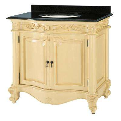Estates 22 in. W x 37 in. D Bath Vanity in Antique White with Engineered Stone Vanity Top in White with White Basin