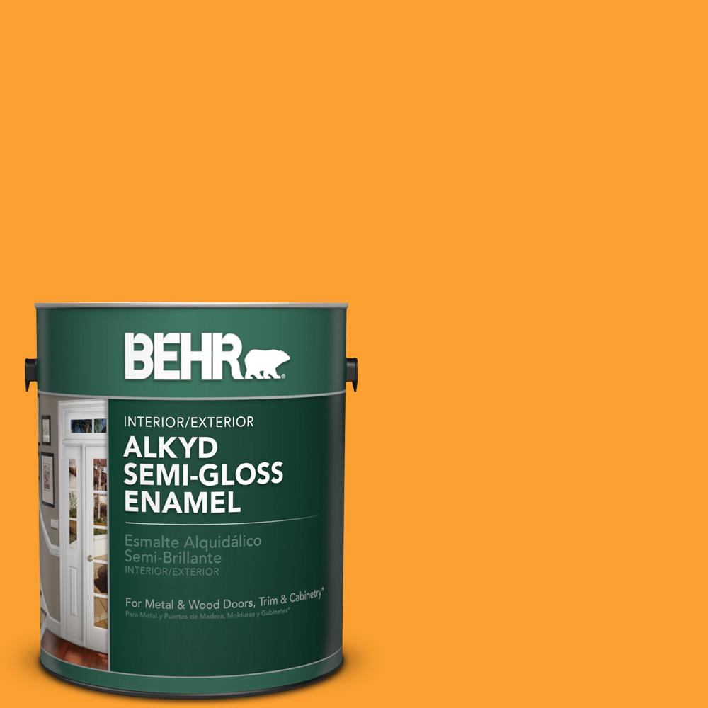 1 gal. #P250-7 Blazing Bonfire Semi-Gloss Enamel Alkyd Interior/Exterior Paint
