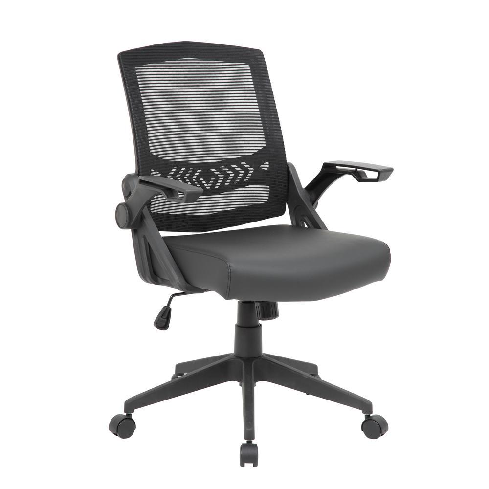 Black Mesh Flip Arm Task Chair