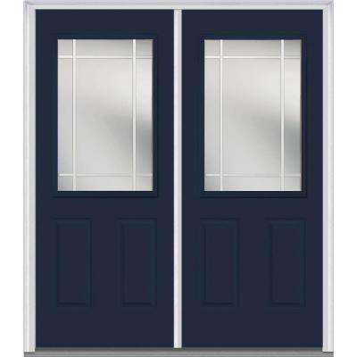 64 in. x 80 in. Prairie Internal Muntins Right-Hand 1/2 Lite Classic Painted Fiberglass Smooth Prehung Front Door