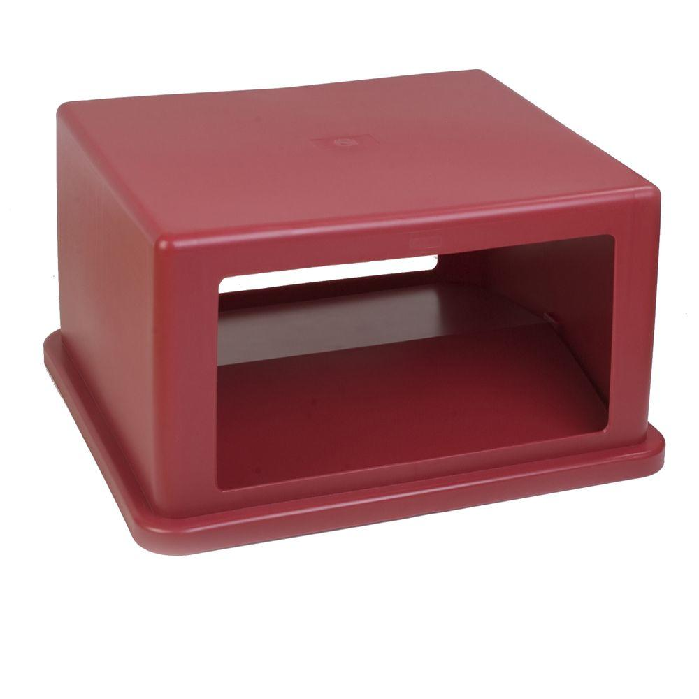 Carlisle 56 Gal. Red Square Trash Can Hooded Dome Top with Flap