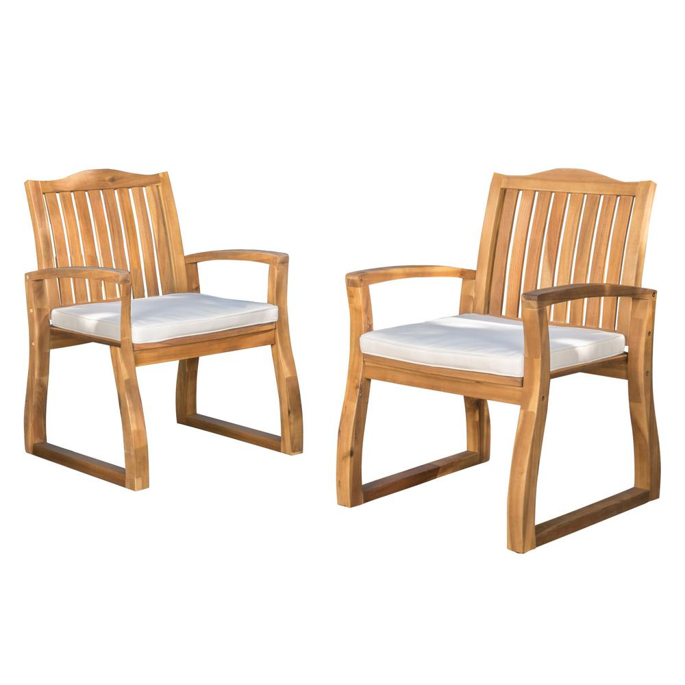 Kolten Teak Wood Outdoor Dining Chair With Cream Cushion (2 Pack)