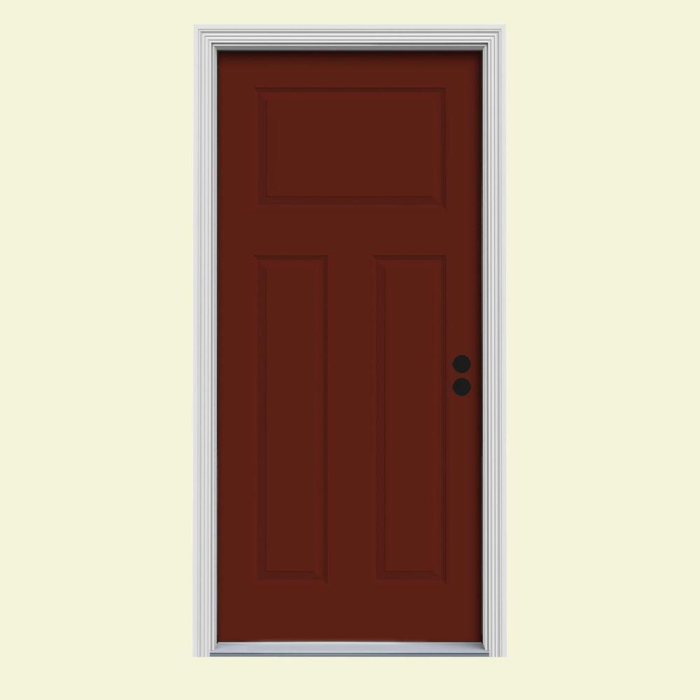 JELD-WEN 30 in. x 80 in. 3-Panel Craftsman Mesa Red Painted Steel Prehung Left-Hand Inswing Front Door w/Brickmould