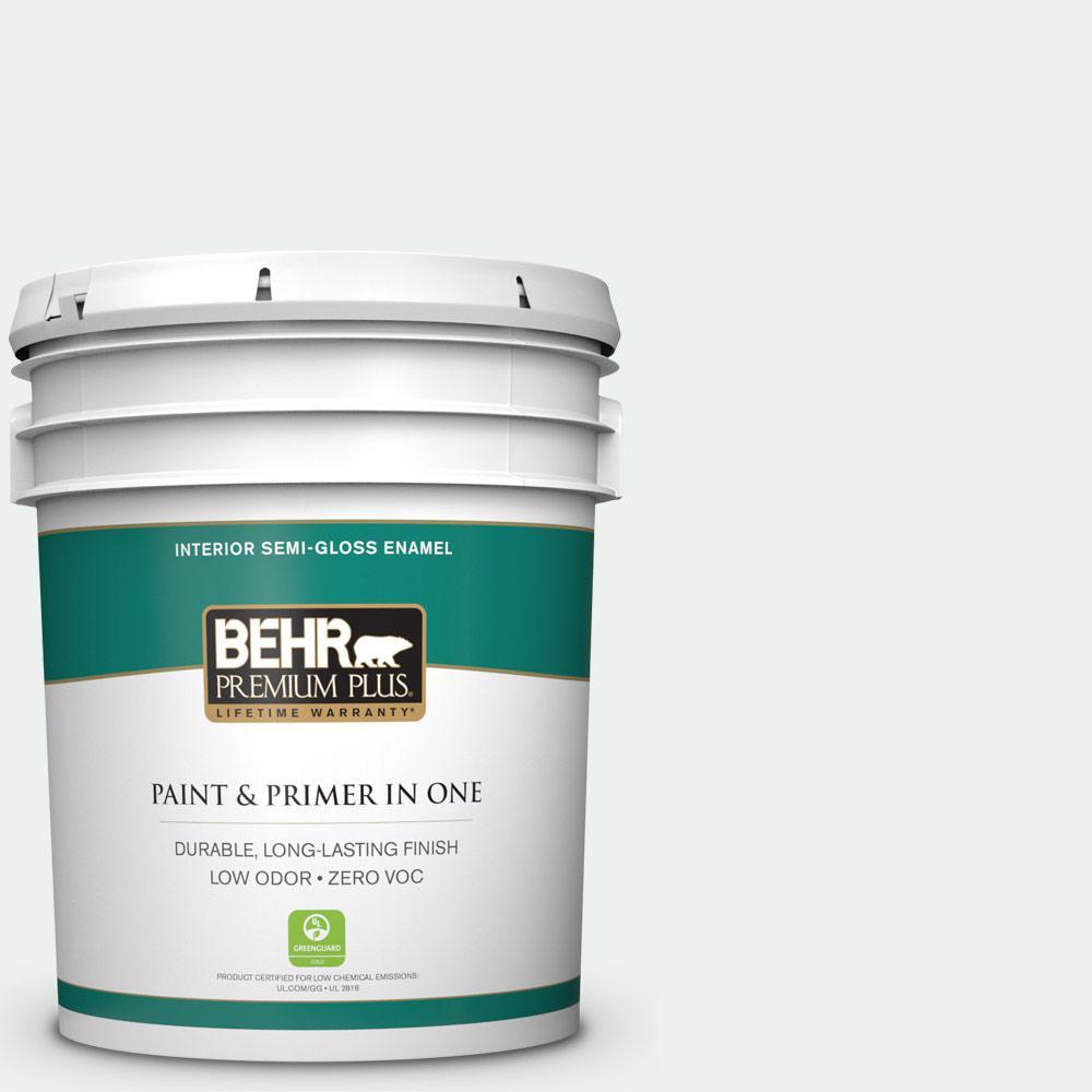 BEHR Premium Plus 5-gal. #ECC-65-2 Mineral Spring Zero VOC Semi-Gloss Enamel Interior Paint