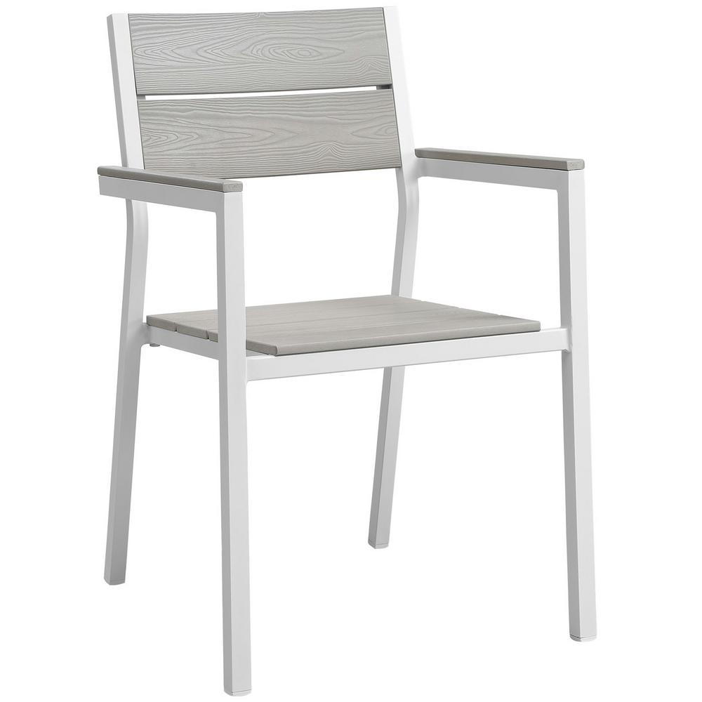 MODWAY Maine White Aluminum Outdoor Patio Dining Chair in Light Gray