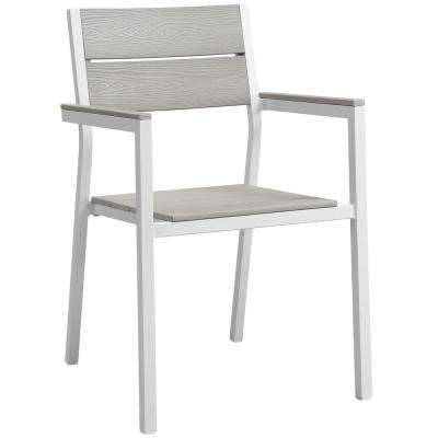 Maine White Aluminum Outdoor Patio Dining Chair in Light Gray
