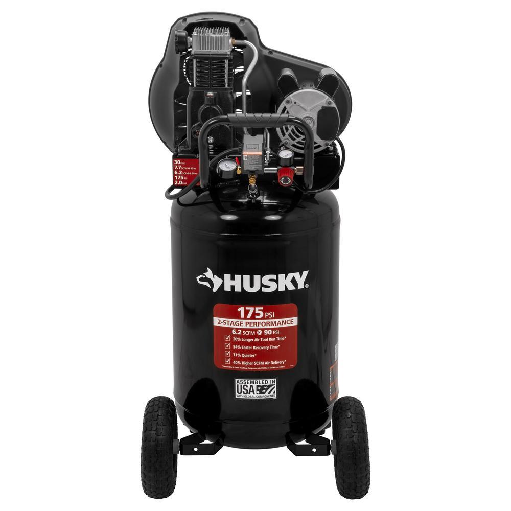Husky 30 Gal 175 PSI Oil Lubed Belt Drive Portable Vertical Electric Air Compressor