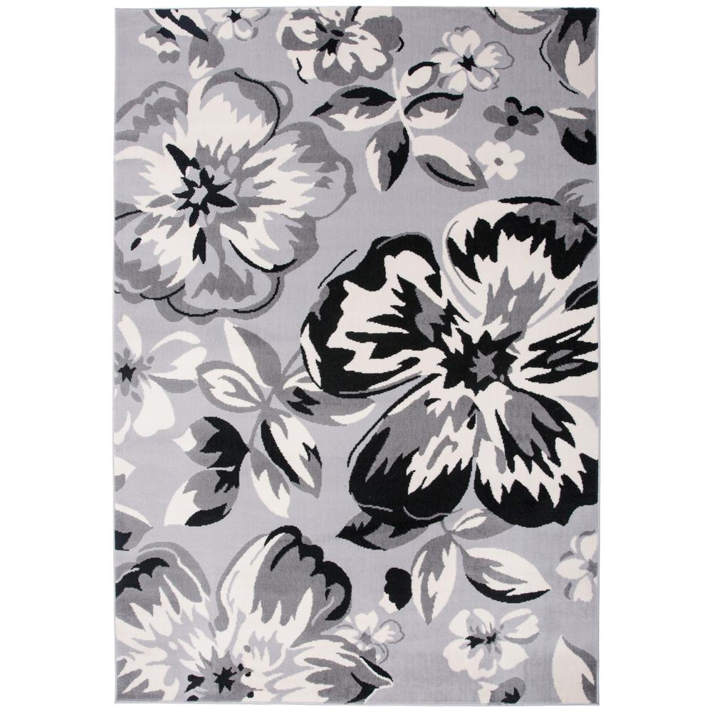World Rug Gallery Modern Comtemporary Floral Design Gray 7 ft. 6 in. x 9 ft. 5 in. Indoor Area Rug