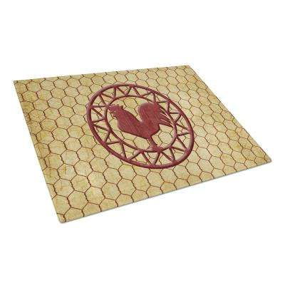Rooster Chicken Coop Tempered Glass Large Heat Resistant Cutting Board