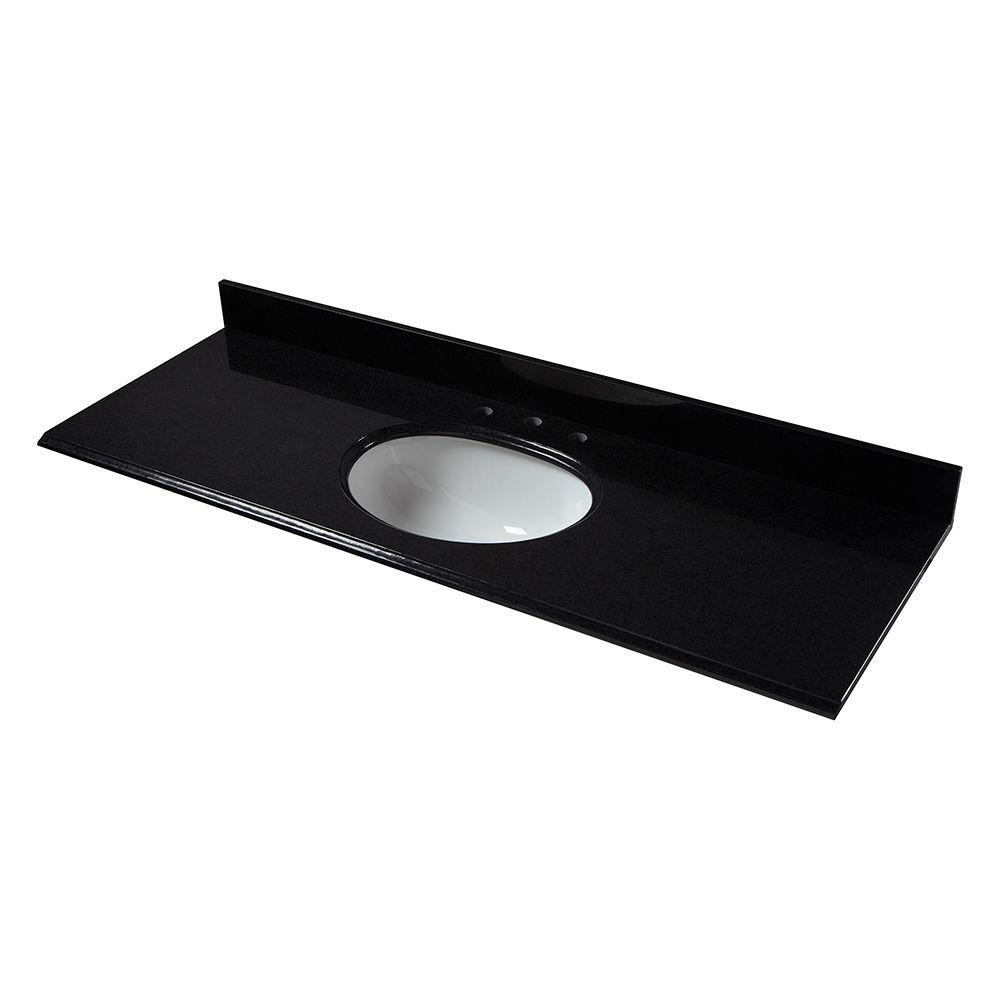 61 in. Granite Vanity Top in Black with White Basin