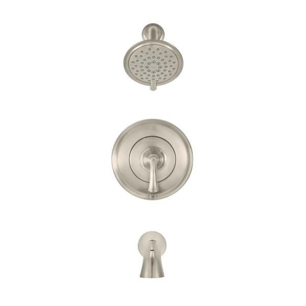 American Standard Patience 1 Handle Water Saving Tub And Shower Faucet Trim Kit For Flash Valves In Brushed Nickel Valve Not Included Tu106508 295 The Home Depot