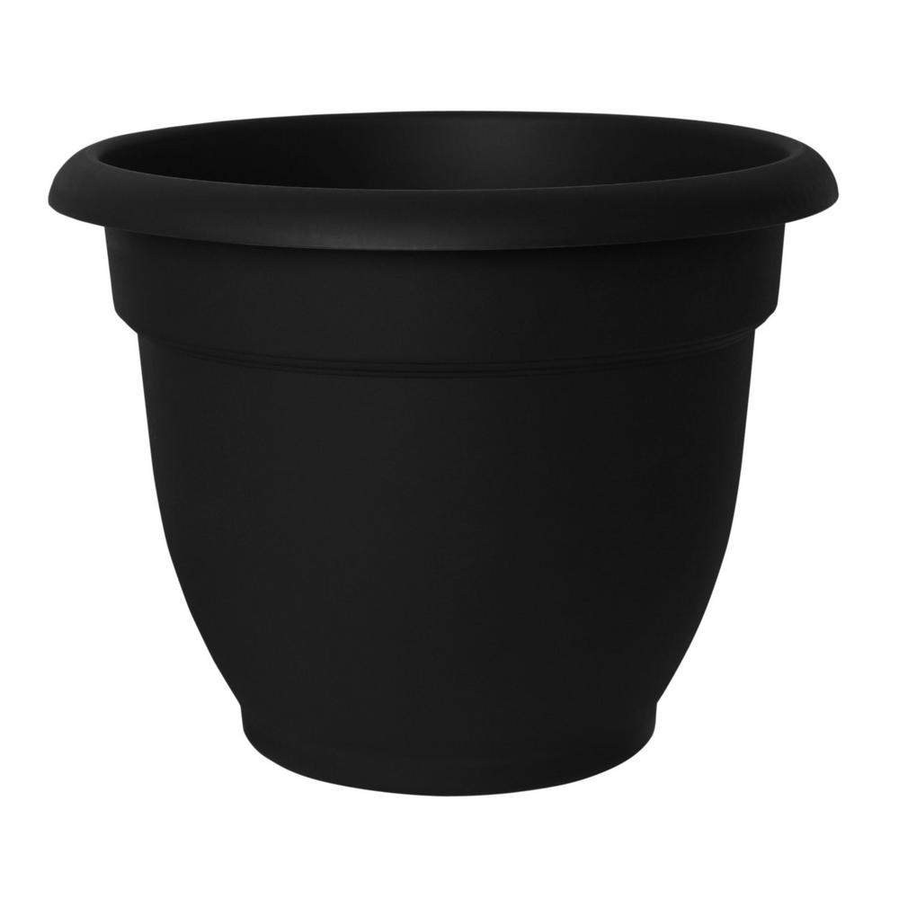 Ariana 12 in. Black Plastic Self Watering Planter