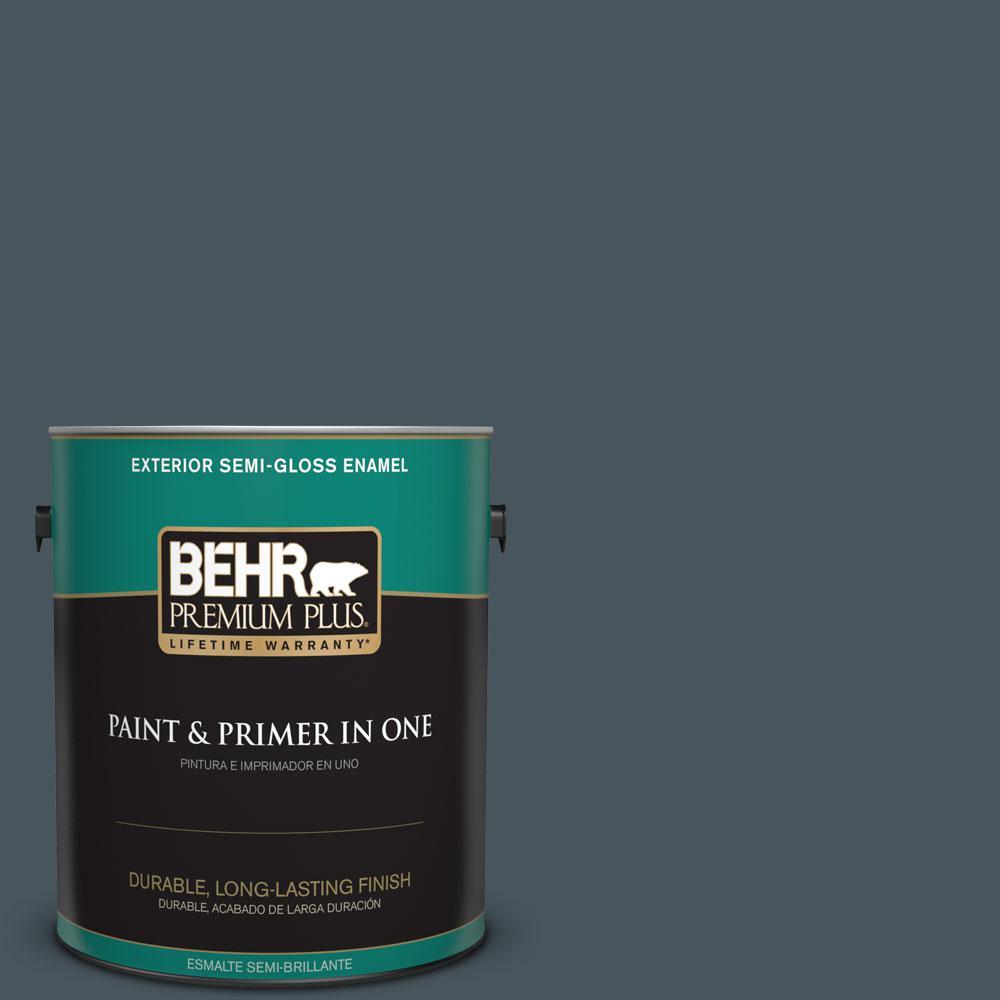1-gal. #BNC-40 Moody Black Semi-Gloss Enamel Exterior Paint