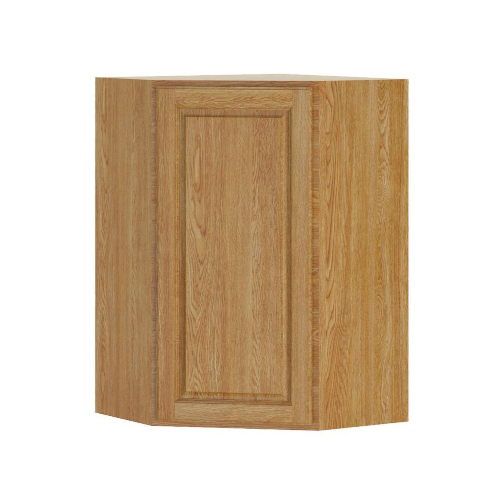 Madison Assembled 24x36x24 in. Corner Wall Cabinet in Medium Oak