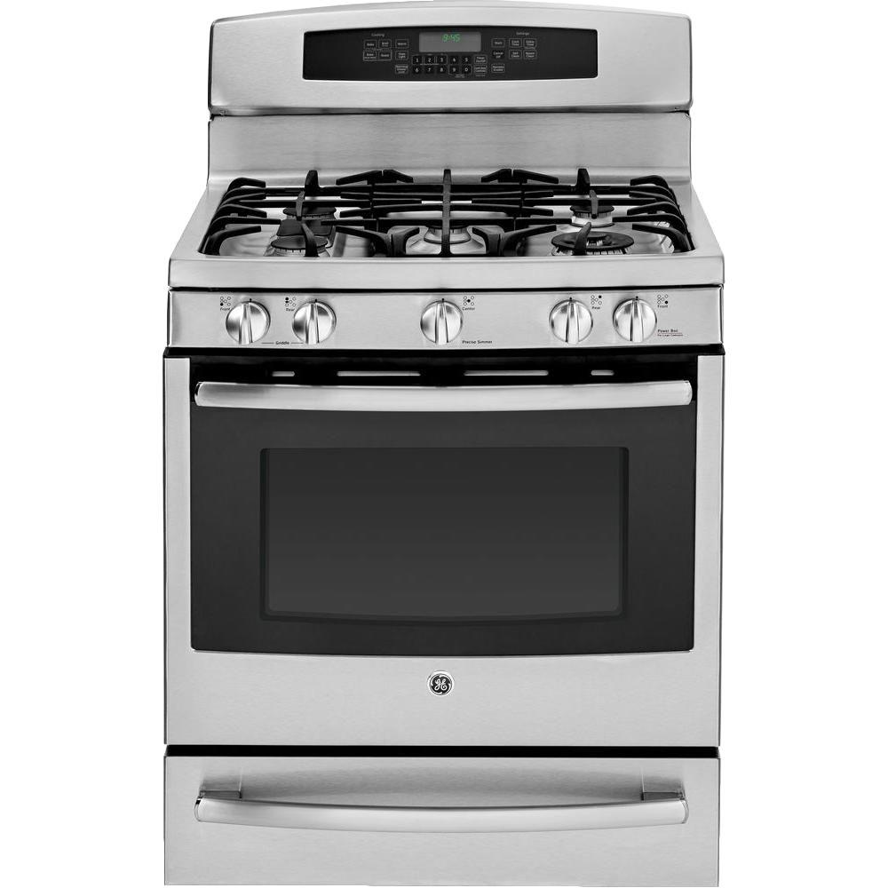 GE Profile 5.6 cu. ft. Gas Range with Self-Cleaning Oven and Convection in Stainless Steel