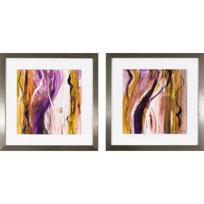 17.5 in. x 17.5 in. Fuchsia Strokes Printed Framed Wall Art (Set of 2)