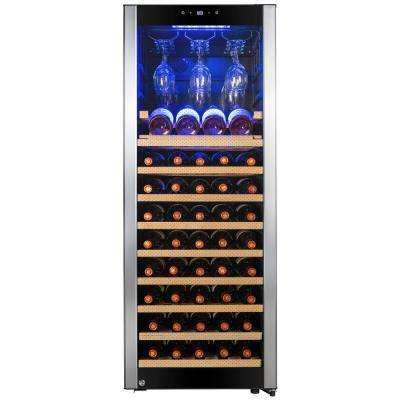 50 in. 56 Bottle Freestanding Compressor Wine Cooler in Stainless Steel with Key Lock