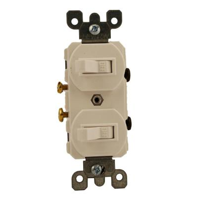 20 Amp Commercial Grade Combination Two Single Pole Toggle Switches, White