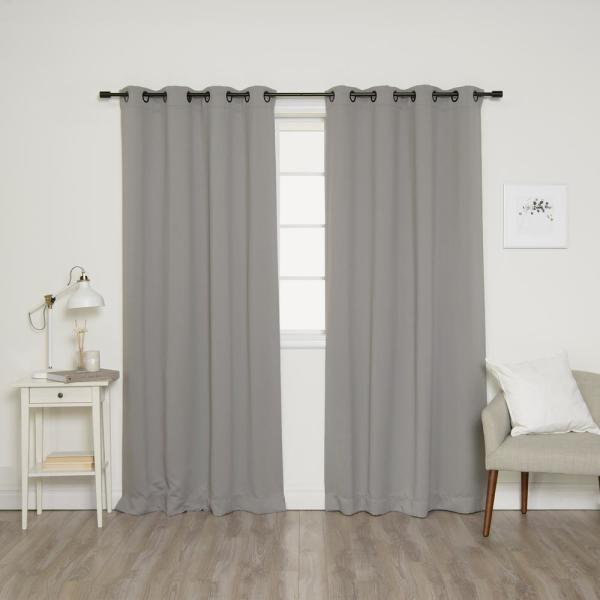 84 in. L Onyx Grommet Blackout Curtains in Dove (2-Pack)
