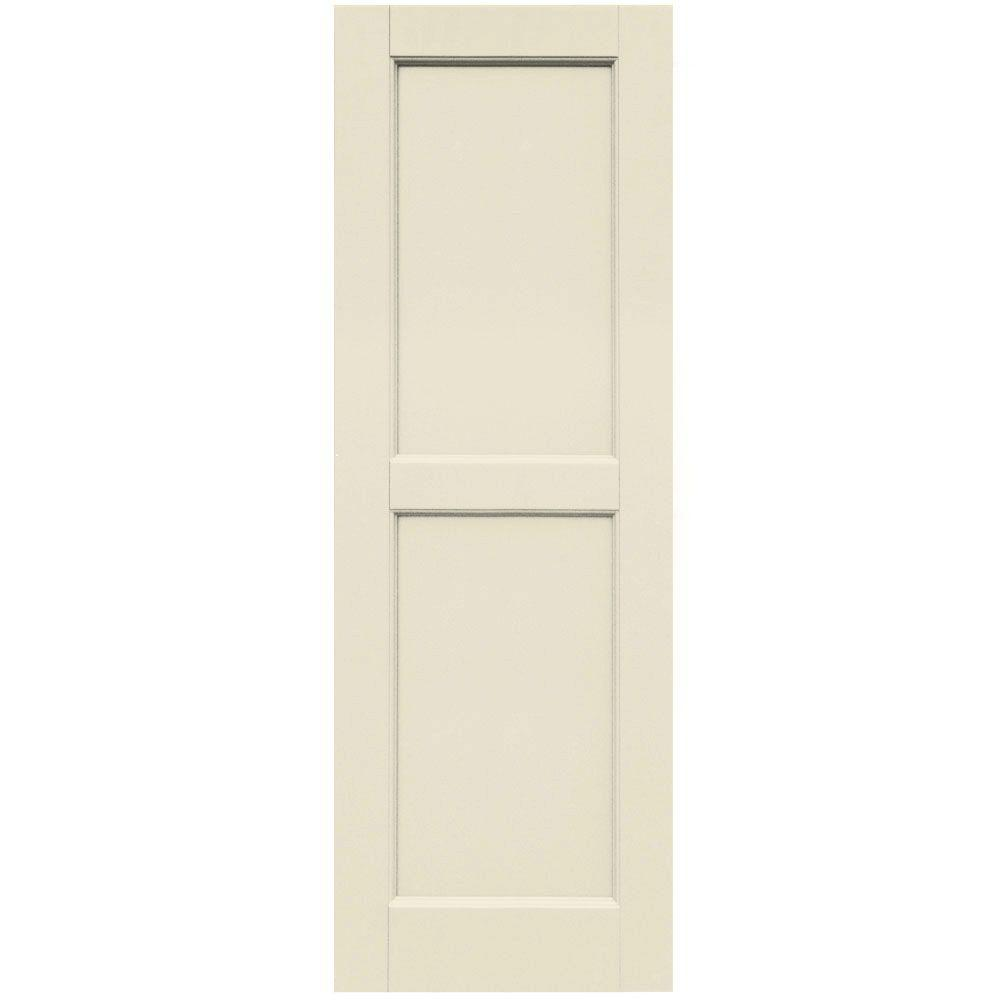 Winworks Wood Composite 15 in. x 44 in. Contemporary Flat Panel Shutters Pair #651 Primed/Paintable