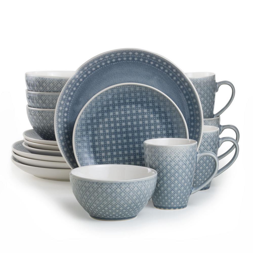 Palma 16-Piece Grey Dinnerware Set