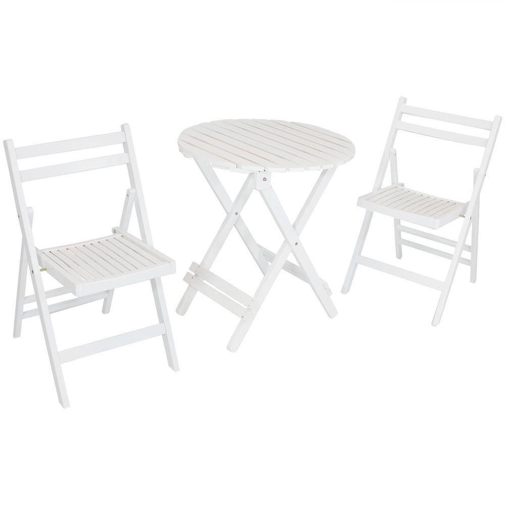 3 Piece White Wood Folding Outdoor Patio Bistro Set