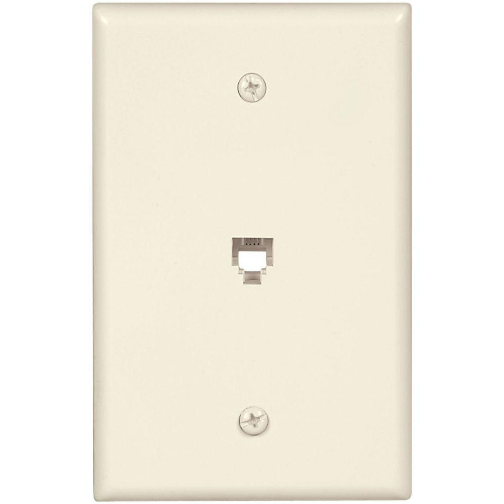 1-Jack Mid-Size Telephone Jack Wall Plate and Connectors - Light Almond
