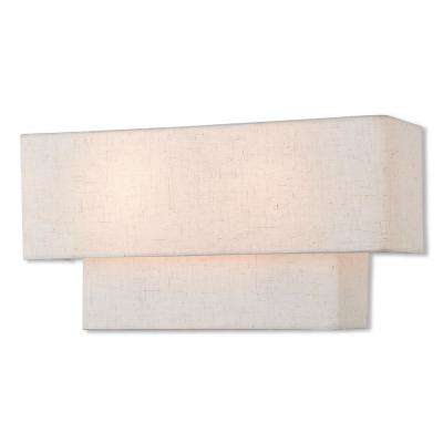 Claremont 8 in. English Bronze Sconce with Off-White Shade
