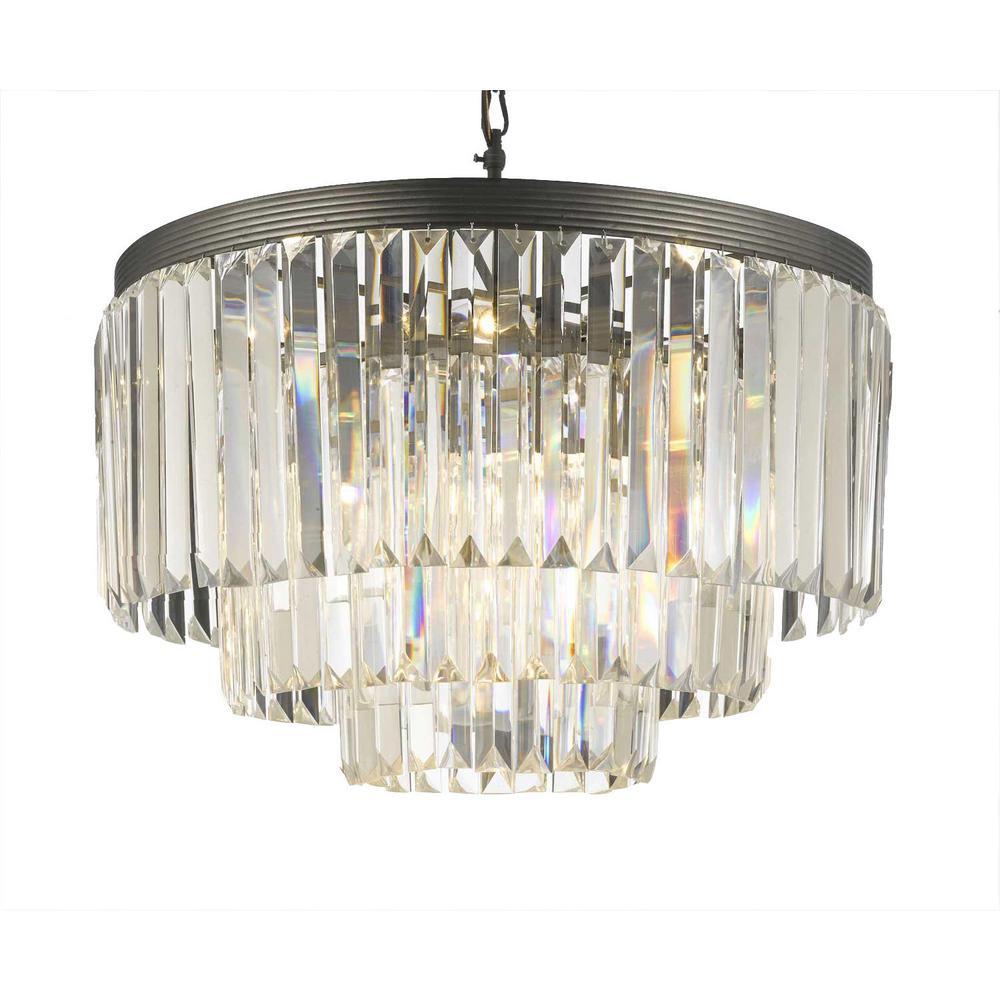Palladium 9-Light Crystal Glass Fringe Chandelier
