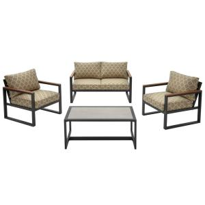 West Park 4-Piece Black Aluminum Outdoor Patio Conversation Set with CushionGuard Toffee Trellis Tan Cushions