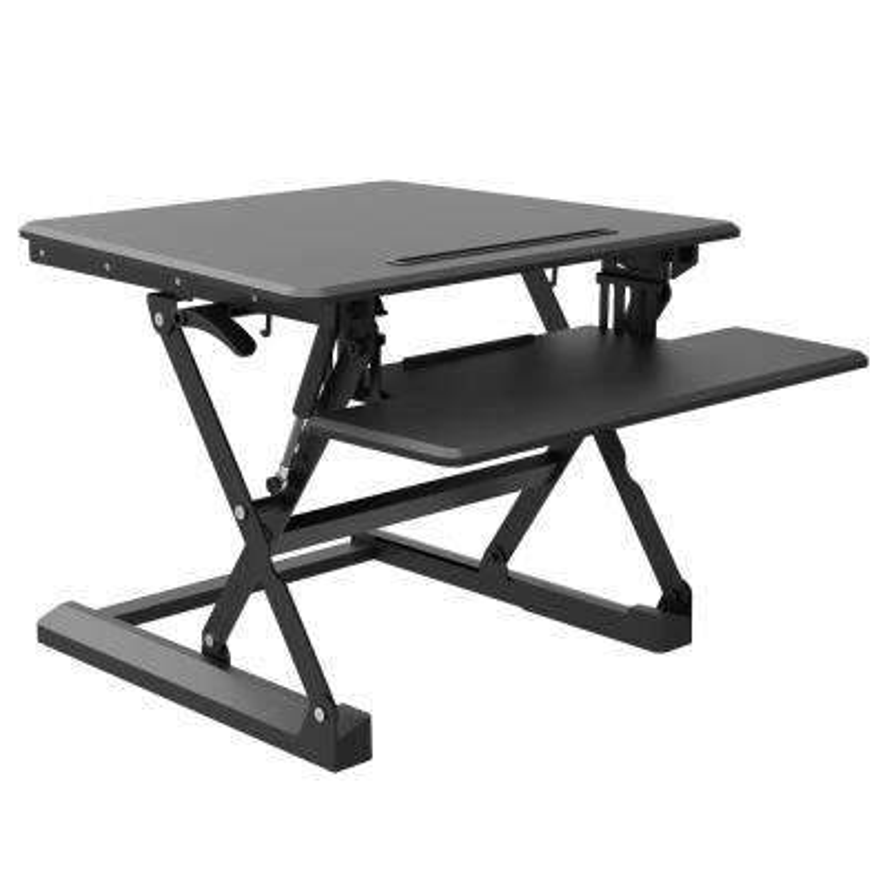 2 Surfaces Barkan Desktop Sit, Stand Work Station, Gas Spring Touch and Adjust Mechanism, Black