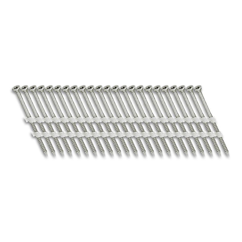Scrail 3 in. x 1/9 in. 20-Degree Fine Thread Electro-Galvanize Plastic Strip Versa Drive Nail Screw Fastener (1,000-Pack)