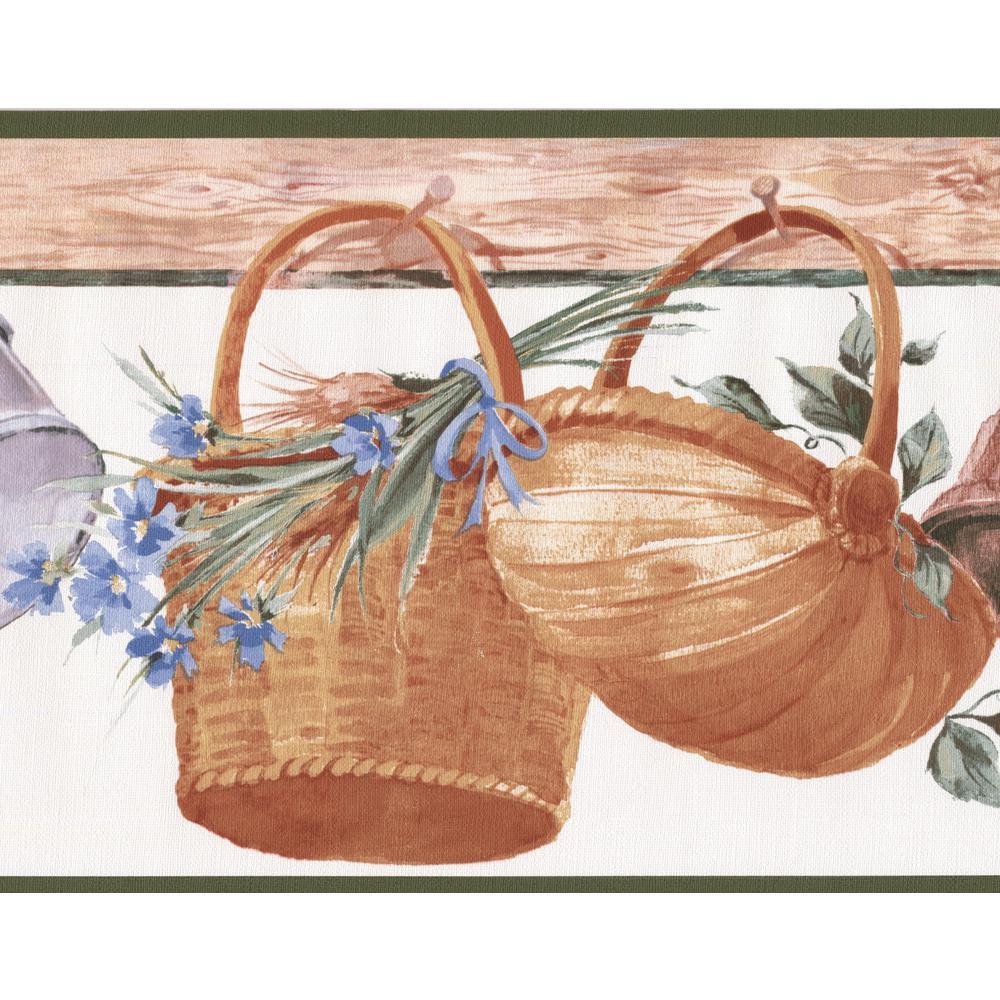 Hanging Baskets Corn Flowers Kitchen Wide Prepasted Wallpaper Border