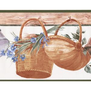 Hanging Baskets Corn Flowers Kitchen Wide Prepasted Wallpaper Border