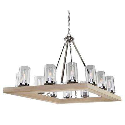 12-Light Natural Light Wood and Chrome Chandelier