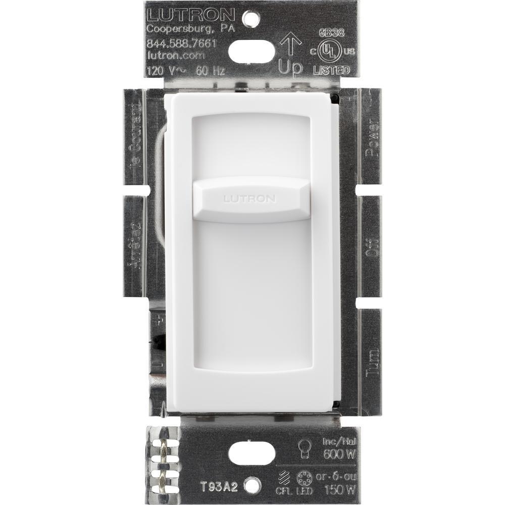 Lutron Skylark Contour Slide Dimmer for Dimmable LED Incandescent ...