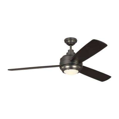 TOB by Thomas O'Brien Aerotour 56 in. Integrated LED Indoor Bronze Ceiling Fan with Light Kit and DC Motor