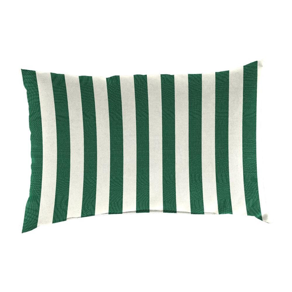 Sunbrella 9 in. x 22 in. Mason Forest Green Lumbar Outdoor Pillow