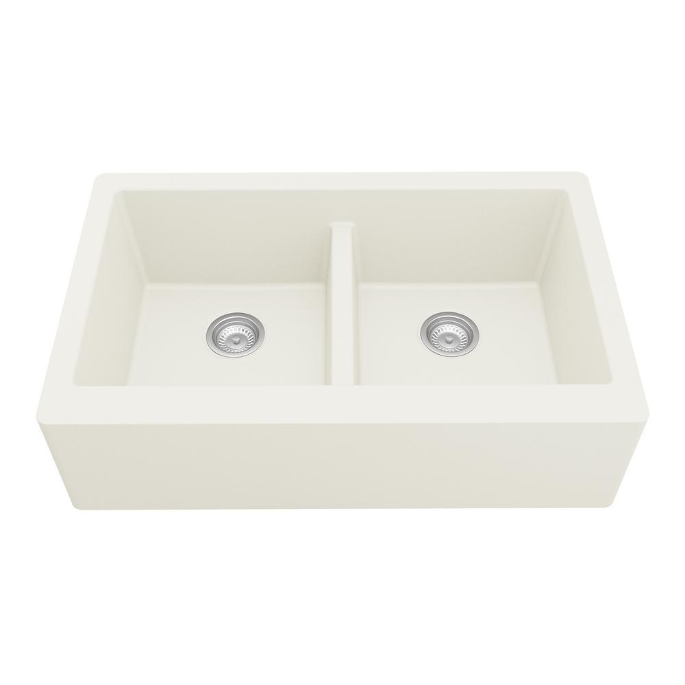 Karran Farmhouse Apron Front Quartz Composite 34 in. Double Bowl Kitchen Sink in White