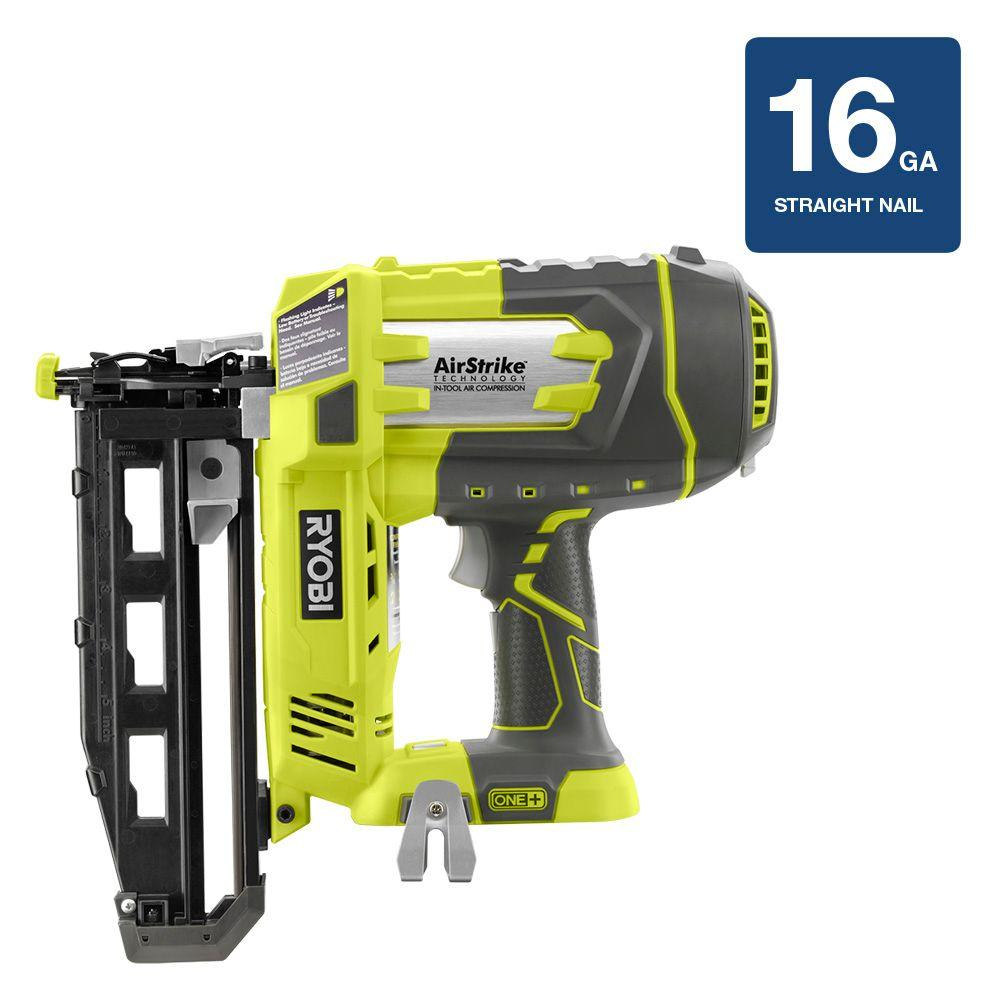 Ryobi 18 volt one airstrike 16 gauge cordless straight nailer tool ryobi 18 volt one airstrike 16 gauge cordless straight nailer tool only p325 the home depot greentooth Images