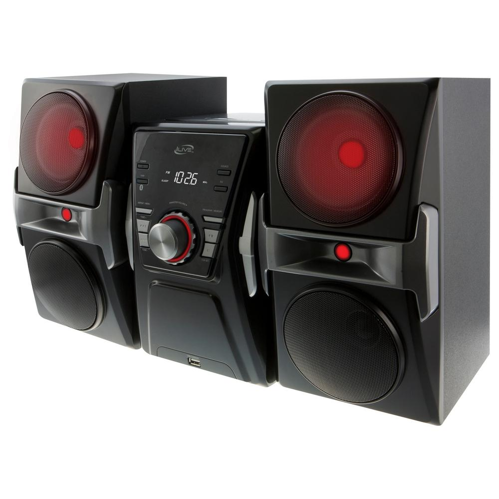 ilive bluetooth home music system with cd fm tuner and led lights